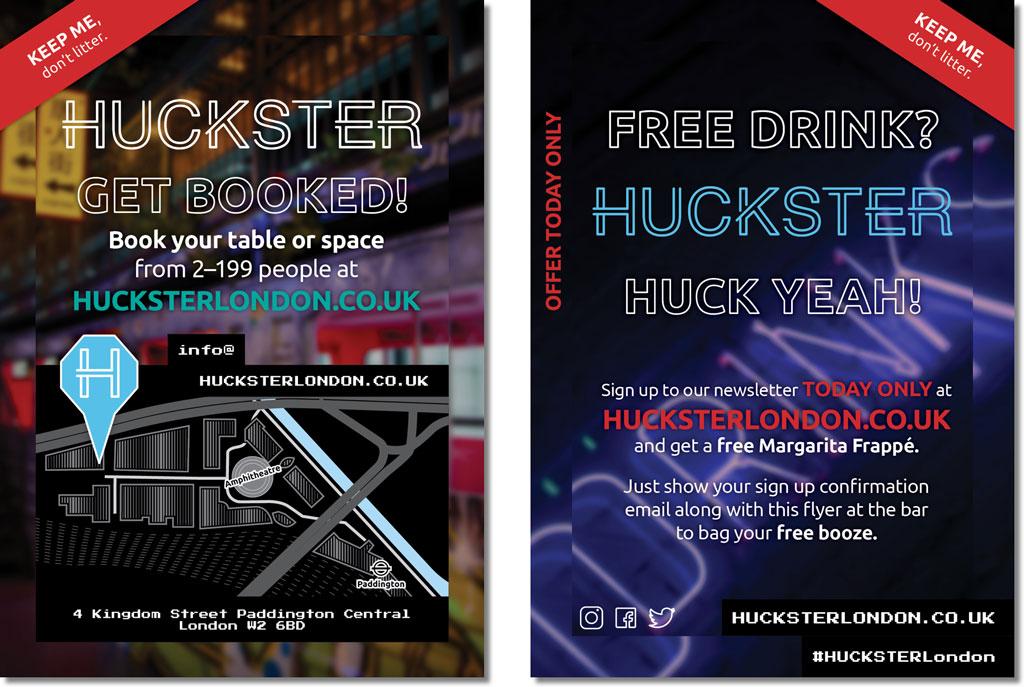 HUCKSTER Newsletter Sign Up Flyer Design