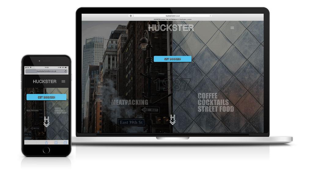 HUCKSTER Bar and Restaurant Website Designer