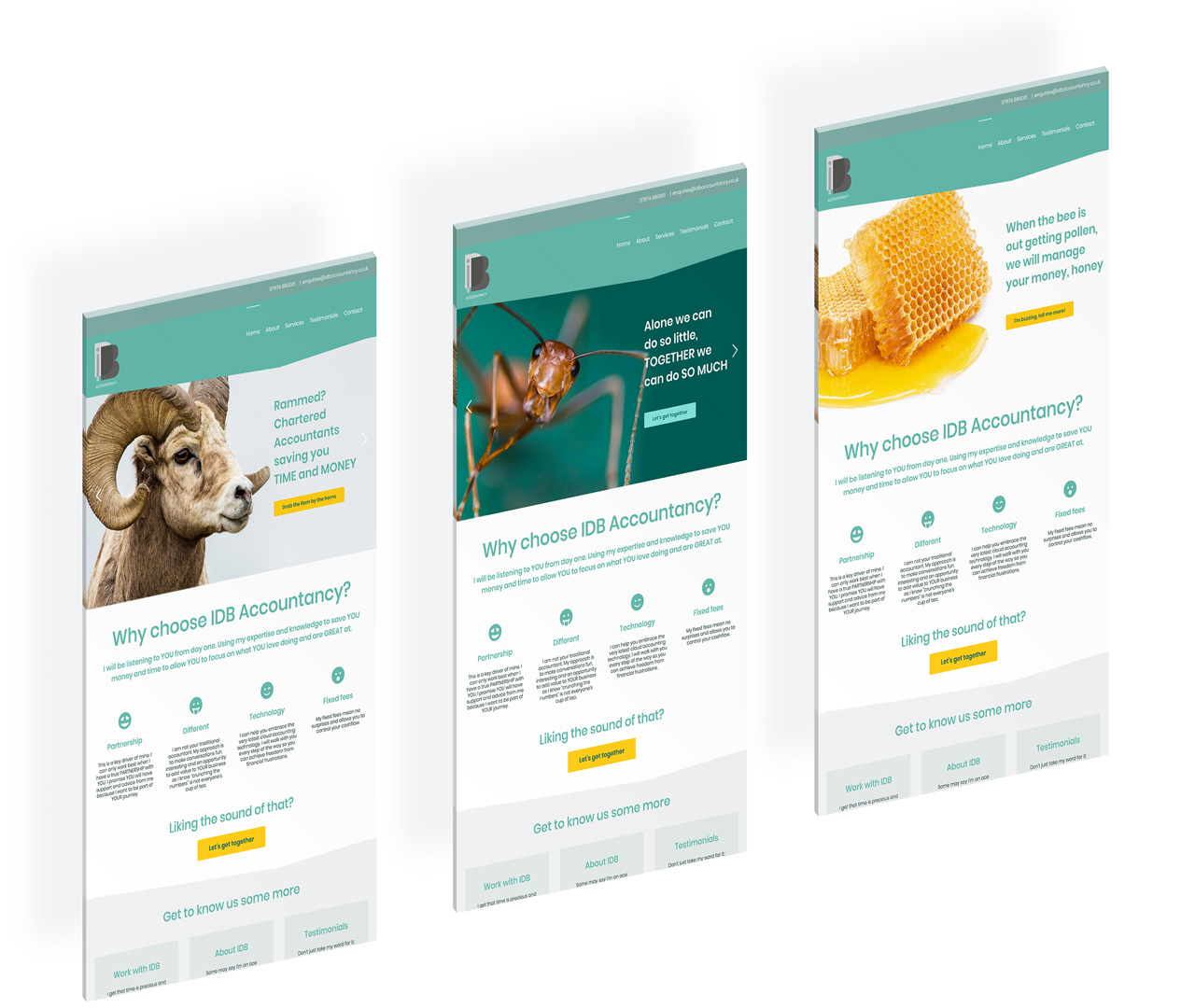 Branding and Website Design in London for IDB Accountancy, Derby